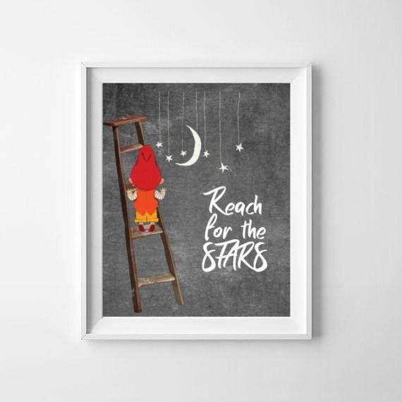 Reach For The Stars / Little Boys Room Print / Stars Nursery Sign / Inspirational Boys Room Print / Climb Boy Nursery Print / Night Sky Kids