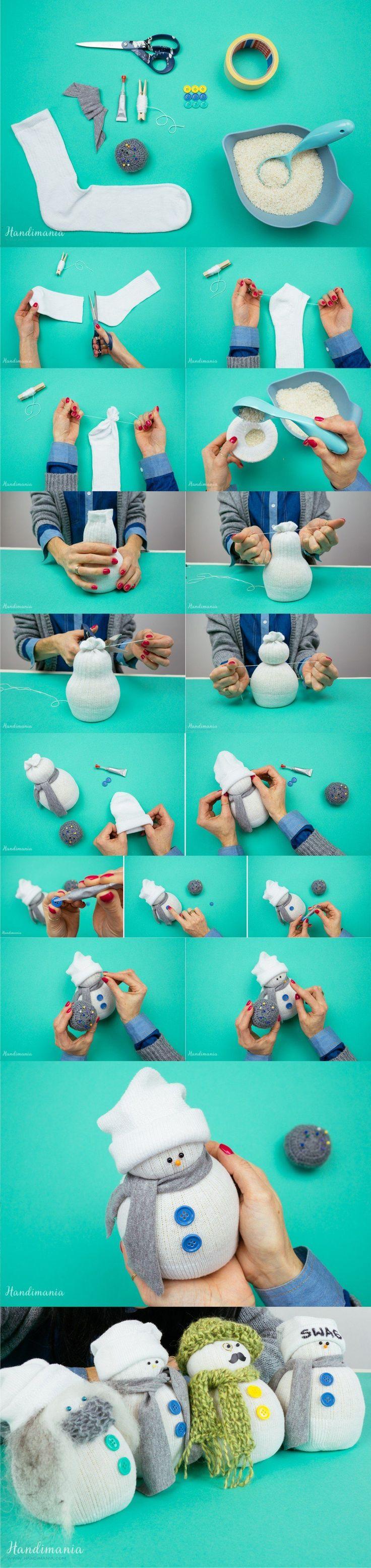 Muñeco de navidad con calcetín - handimania.com