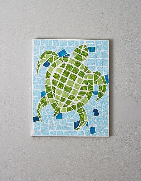 DecoArt Blog - Project - Fabric Mosaic Turtle on Canvas by @Amanda Formaro Amanda Formaro