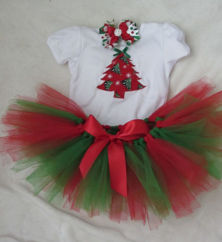 Christmas outfit for girls, baby girls and toddlers/ Christmas shirt, tutu, and bow set/ Matching siblings outfits/ Christmas tree shirt