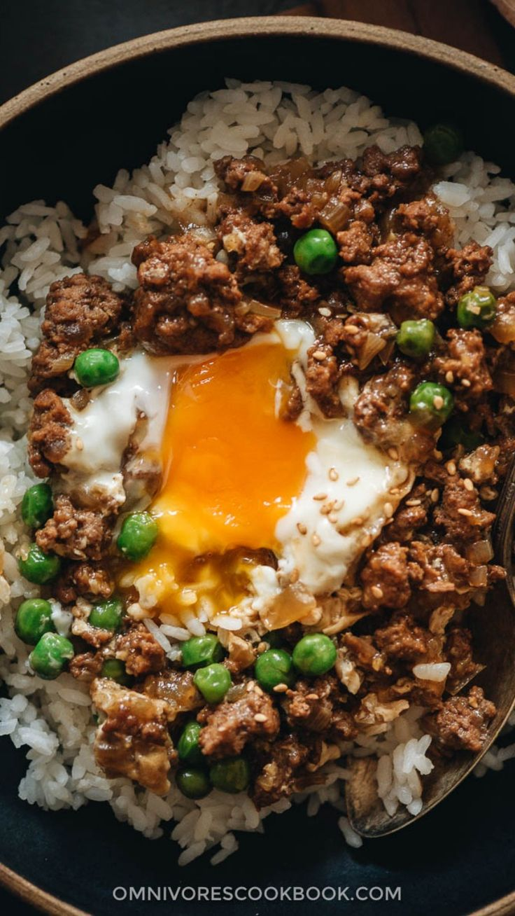 cantonese ground beef rice and eggs 窝蛋牛肉 an immersive