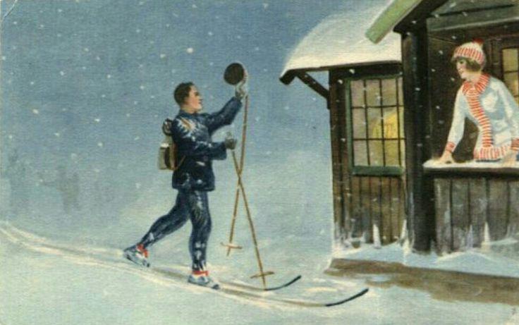 Julekort Otto Moe. Skiløper. Utg Mittet Stemplet 1923