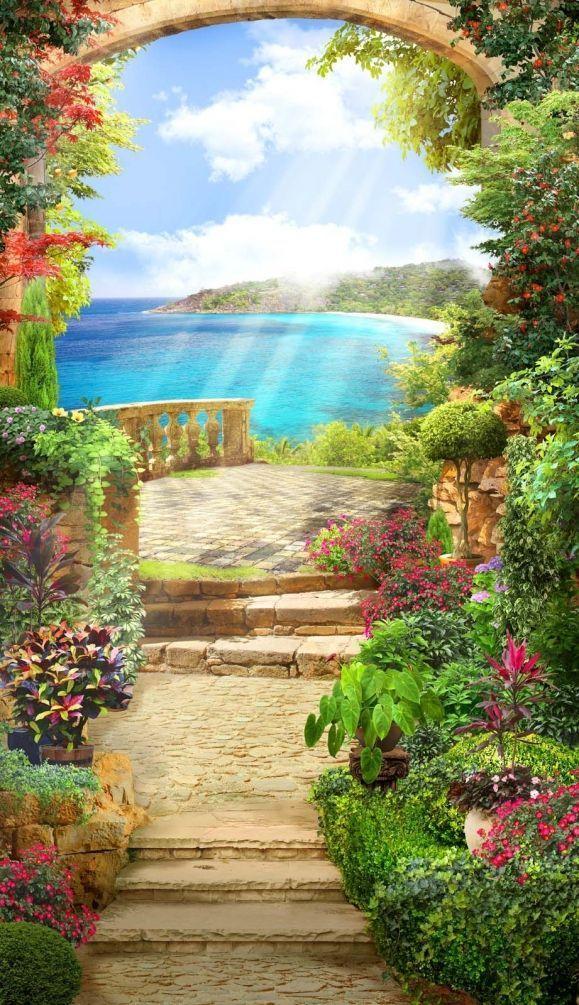 Peinture murale La nature, Paysage naturel et ciel, No