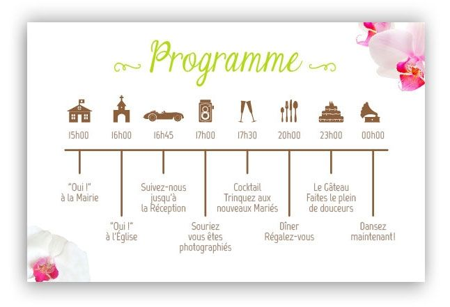 Programme orchid e calendrier roses et mariage - Planning avant mariage ...