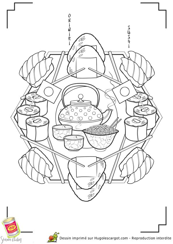 485 best coloriages mandala images on pinterest for Cuisine japonaise