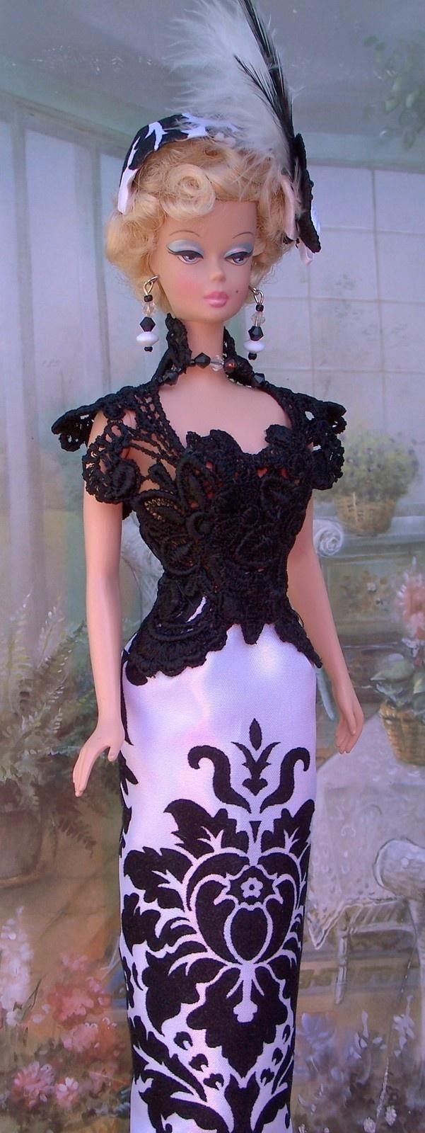 BlackWhite Damaskvelvet Applique OOAK Fashion Fit Royalty FR2 Silkstone Barbies |