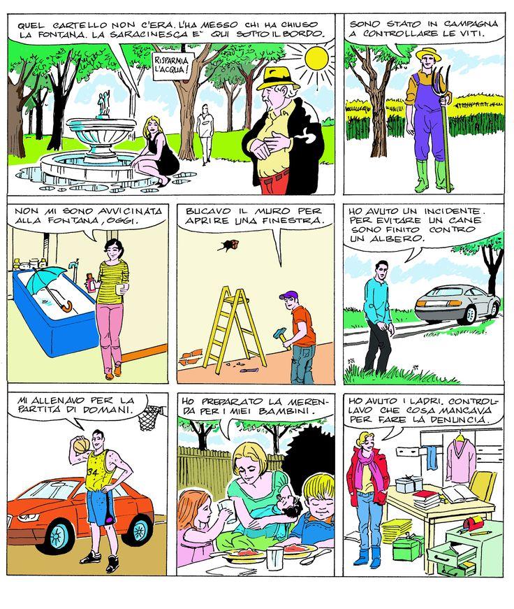 IL COMMISSARIO SALVO    I casi del commissario Salvo hanno una particolarità: la ricerca dell'innocente. Solo una delle affermazioni rese poco dopo la chiusura del getto della fontana, è inattaccabile. Chi è l'unico personaggio che ha fatto ciò che dice. Perché sono possibili colpevoli gli altri sei?  http://enigmionline.altervista.org/ #gialli #polizieschi #enigmi #enigmistica #giochi #albus #commissariosalvo #cruciverba