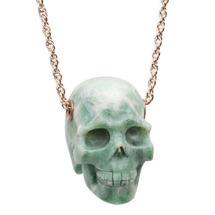 Skull necklace in green aventurine - $99. Statement long necklace comprising of 22ct rose gold plated chain, with large hand carved green aventurine crystal detailed skull pendant. Lovingly designed by Sydney label Amber Sceats. www.savethelastpinker.com.au/shop/skull-necklace-green/