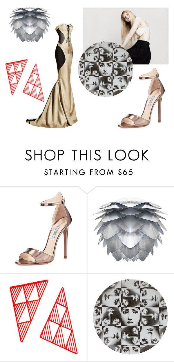 """""""Diva corsé"""" by clararucula ❤ liked on Polyvore featuring Prada, Bend Seating and Fornasetti"""