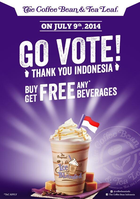 The Coffee Bean & Tea Leaf: Go Vote & Get Free Beverage @CoffeeBeanIndo