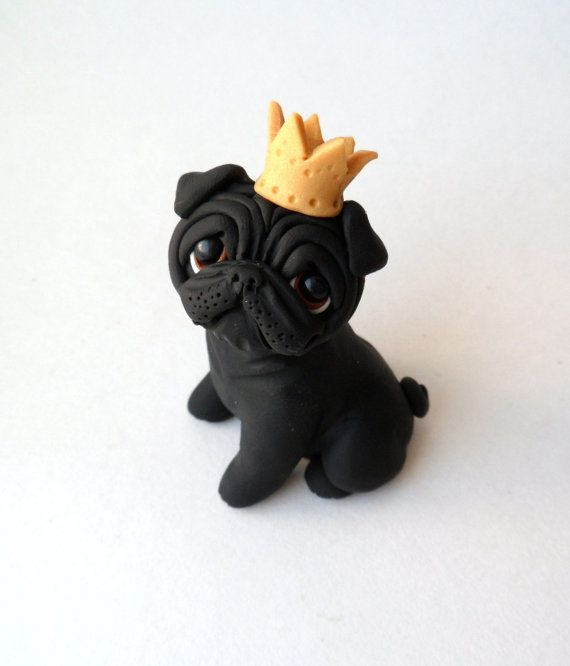 Royal Pug Sculpture Polymer Clay Mini by Raquel at by theWRC