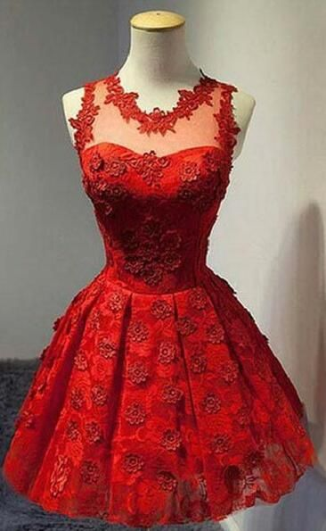 Red lace homecoming dress, Sexy 2016 homecoming dress, short homecoming dresses…