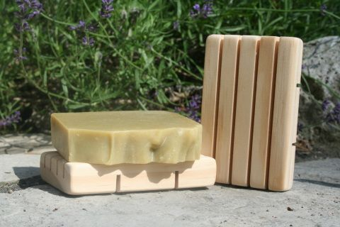 Natural soaps need to dry completely in between use or they will dissolve.  If you do not have a well draining soap dish, consider purchasing this cedar stand.   Handmade in Canada  Soap not included