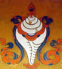 1. Eight Sacred Buddhist Symbols 1. Conch Shell (dun) - used in Buddhist worship as a trumpet or offertory vessel and symbolizes the spoken word of Buddha.