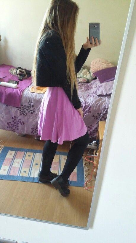 Black sweather Magenta dress Black leggins Black creepers
