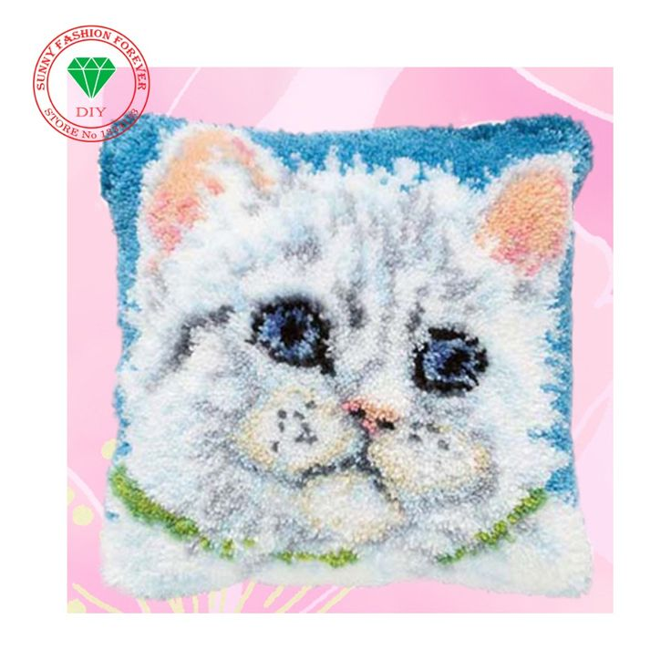 Cross-stitch carpet diy pillowcase embroidery Cartoon Cat Latch hook rug kits Carpet embroidery sets embroidery stitch thread #Affiliate