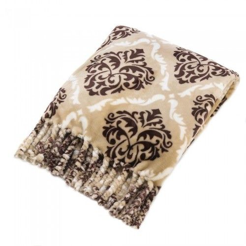 Baroque-Pattern Taupe And Brown Throw Blanket