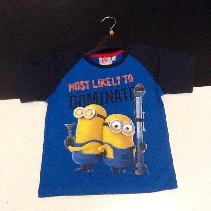 Maglietta bambino manica corta blu Minion Cattivissimo Me 6 anni idea regalo