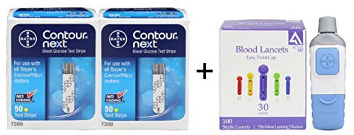 Bayer Contour NEXT Test Strips 100   Bayer Microlet Lancing Device   100 Active1st Lancets diabetes ** This is an Amazon Associate's Pin. Detailed product information can be found on the website by clicking  the VISIT button.