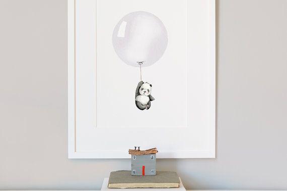 Balloon Picture Kid's Wall Art Grey Panda by DaisyandBumpArt, £20.00