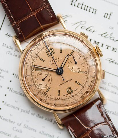Rolex Chronograph ad: Price on request Rolex Chronographe Ref. 4062 Ref. No. 4062; Pink gold; Manual winding; Condition 1 (mint); Year 1955; Location: Germany, Mün