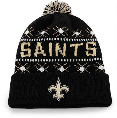 New Orleans Saints Black 47 Brand Tip Off Pom Top Cuff Knit Hat
