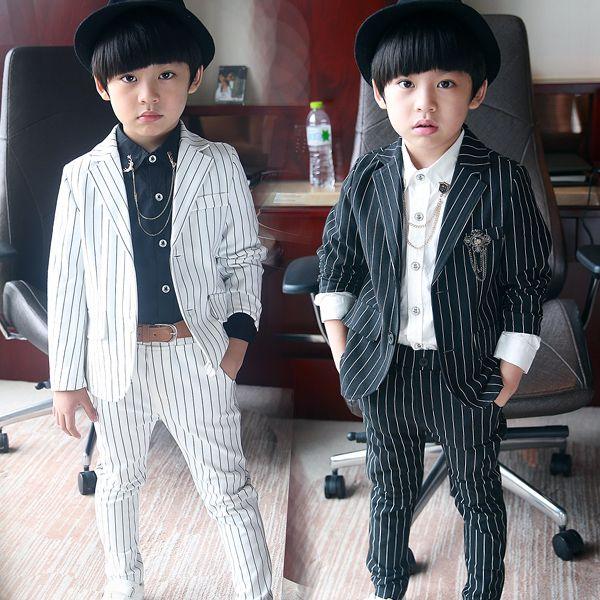 Костюм детей мужского цветочница платье черный и белый вертикальные полосы костюм маленький мальчик ребенка костюм пальто джентльмен костюм