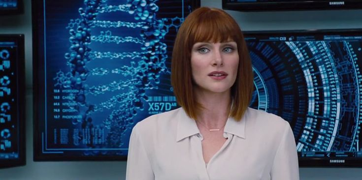 "Jurassic World (2015) - Trailer Still Claire (Bryce Dallas Howard) is Zack and Gray's aunt. She's also a Jurassic World head honcho, dedicated to keeping attendance figures sky-high. ""We have our first genetically modified hybrid,"""