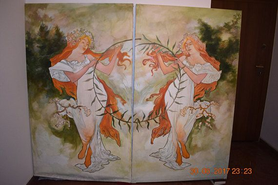 a pair of Art Nouveau style 1.78X100 cm paintings