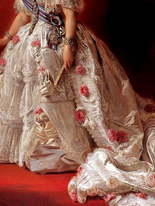 """Detalle del""""Retrato de la Reina Isabel II de España"""" (1852). Franz Xaver Winterhalter (1805-1873)."""