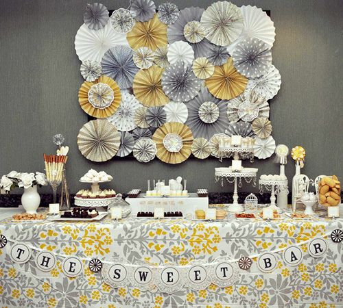 more on the yellow and gray theme: Sweet Bar, Backdrops, Colors, Pinwheels, Shower, Parties Ideas, Sweetbar, Desserts Tables, Paper Rosette