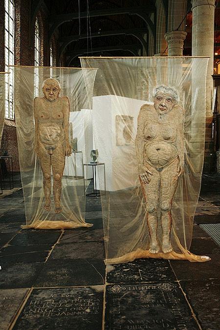 """Textile art. Mieke Werners. Voor haar project """"van oude mensen...""""."""