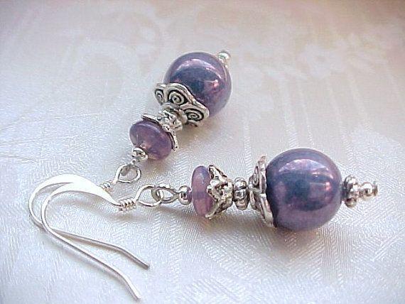 Metallic Radiant ORCHID Purple Earrings Shabby Vintage Milkglass Iridescent Eggplant Milk Glass Bead Earrings Heather Sherman Beaded Zoinks