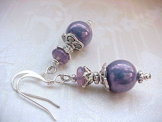 Metallic Radiant ORCHID Purple Earrings Shabby Vintage Milkglass Iridescent Eggplant Milk Glass Bead Earrings Heather Sherman Beaded Zoinks