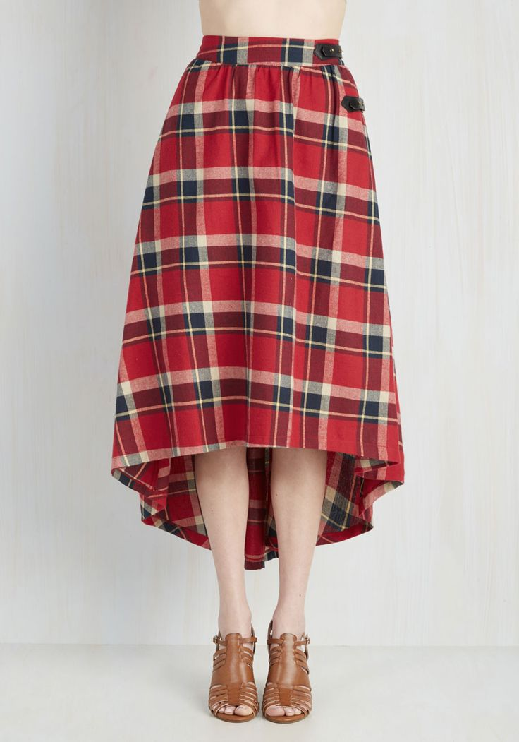 London is for Lovers Skirt in Ruby. Strolling through cobblestone streets, you catch your reflection in the window and fall evermore in love with your tartan skirt. #red #modcloth