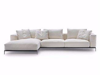 Sofá secional de tecido com estojo removível com chaise-longues ETTORE | Sofá com chaise-longues - FLEXFORM