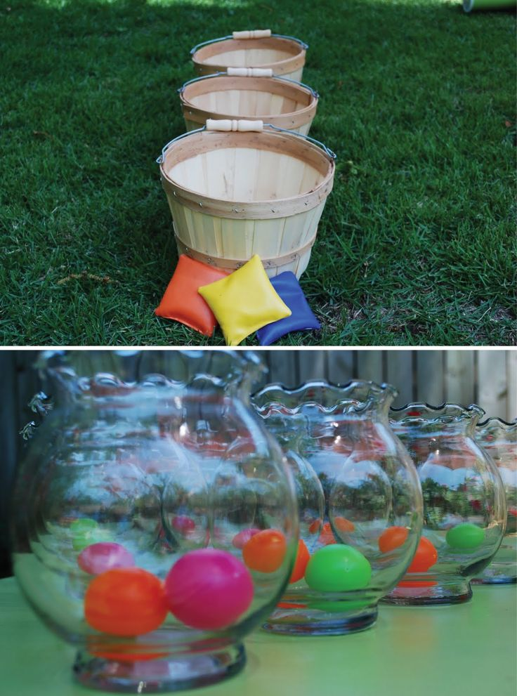 Could hot glue a tutu around the buckets and throw in water balloons or pink bean bags outdoor party games