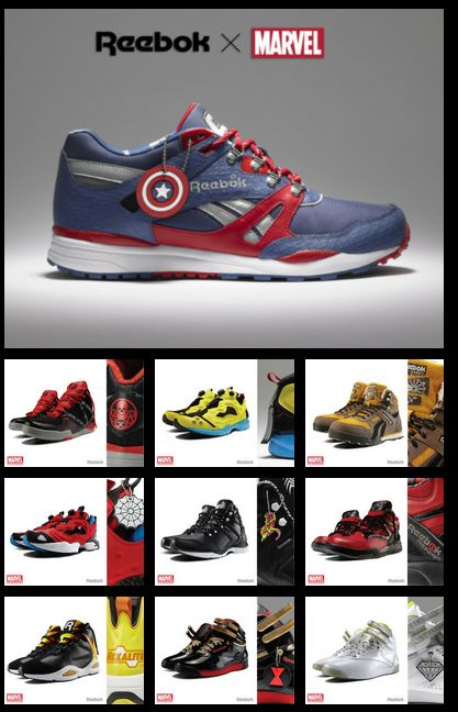 Reebok x Marvel, Shoe Collaboration!  Garrett would love these