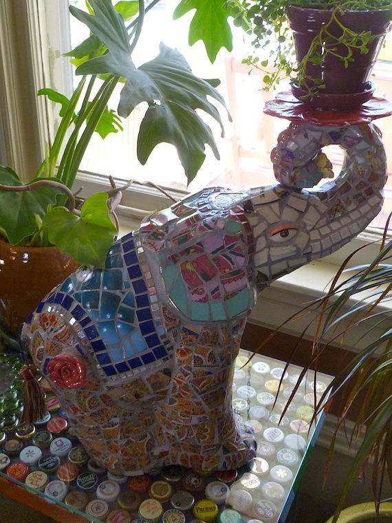 Elephant mosaic by OMGWhiz on Etsy, $1500.00