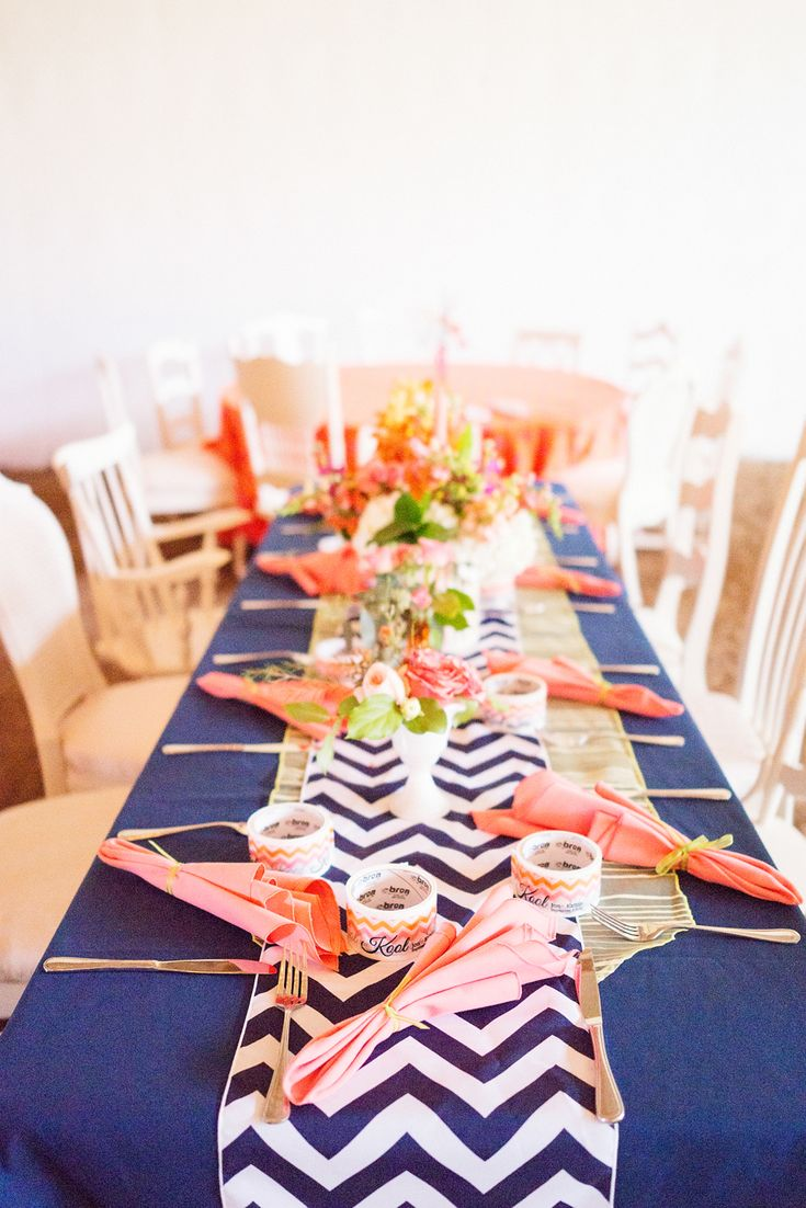 Whimsical tablescape with chevron runner |   Photography: Adonye Jaja - www.adonyejaja.com  Read More: http://www.stylemepretty.com/2014/07/01/whimsical-colorado-mountain-wedding/