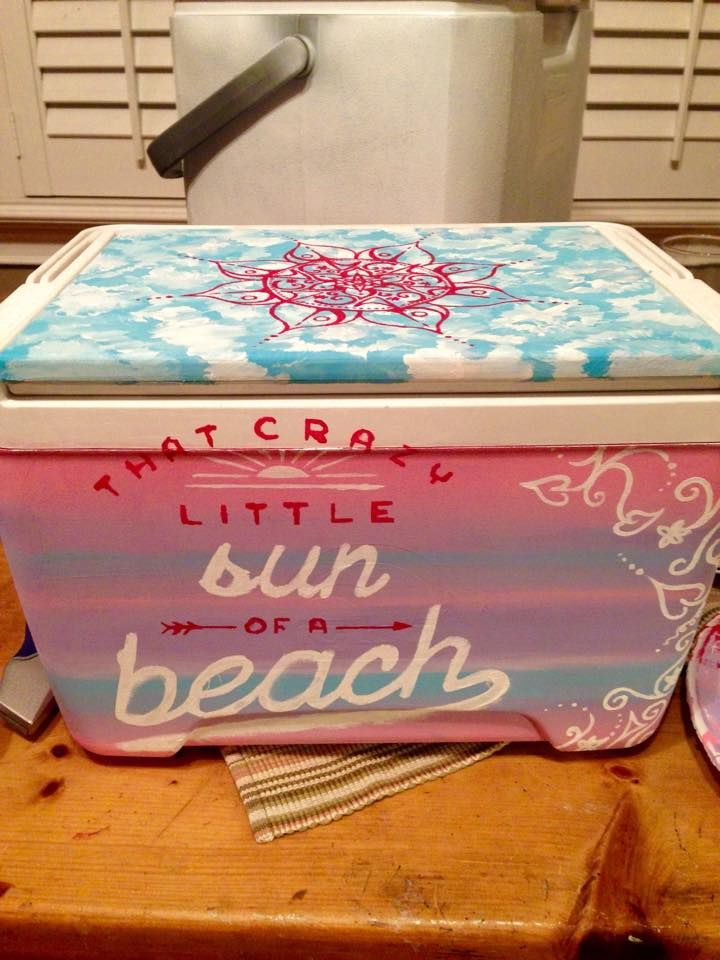"Cute painted cooler with ""That crazy little sun of a beach"""