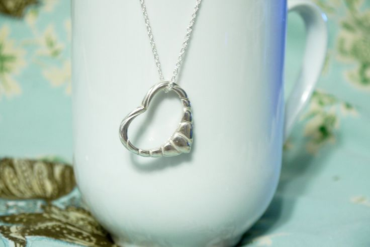 Wedding Ring Holder Pendant Sterling Silver Striped Heart. For holding wedding rings during surgery!
