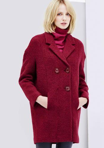 Palton dama iarna rosu oversized