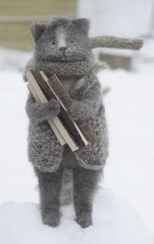 cat with firewood, Natasha Fadeeva