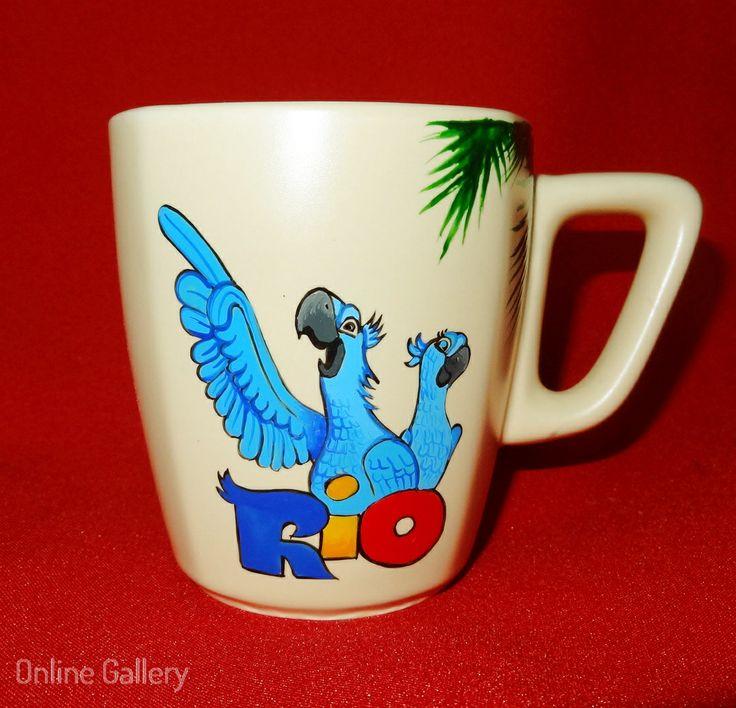 cana pictata manual desene animate rio #handmade #painted #mug #art #rio