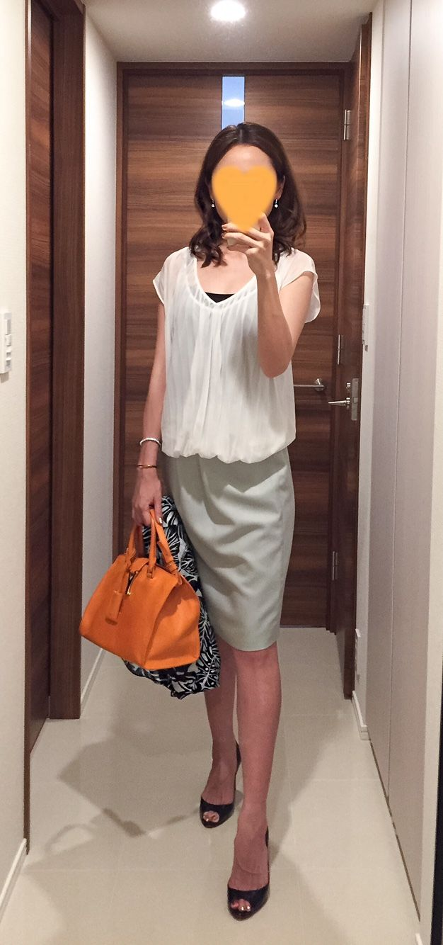 White top: ZARA, Mint green skirt: Nolley's, Scarf: ZARAm Orange bag: Saint Laurent, Heels: Christian Louboutin