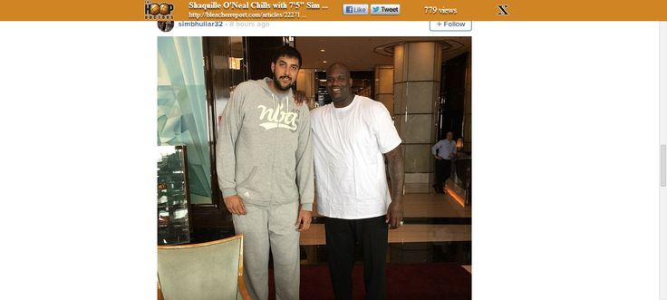 """Shaquille O'Neal Chills with 7'5"""" Sim Bhullar and 7'6"""" Yao Ming"""