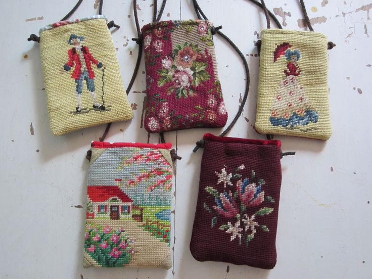 needlepoint cell phone and accessories purse FROM OLD NEEDLEPOINT. Melody Elizabeth handbags   Made from recycled leather coats, needlepoints, ribbon, steelcut buckles, and all sorts of fun stuff. all one of a kind.http://pinterest.com/melodyelizab/melody-elizabeth-handbags/