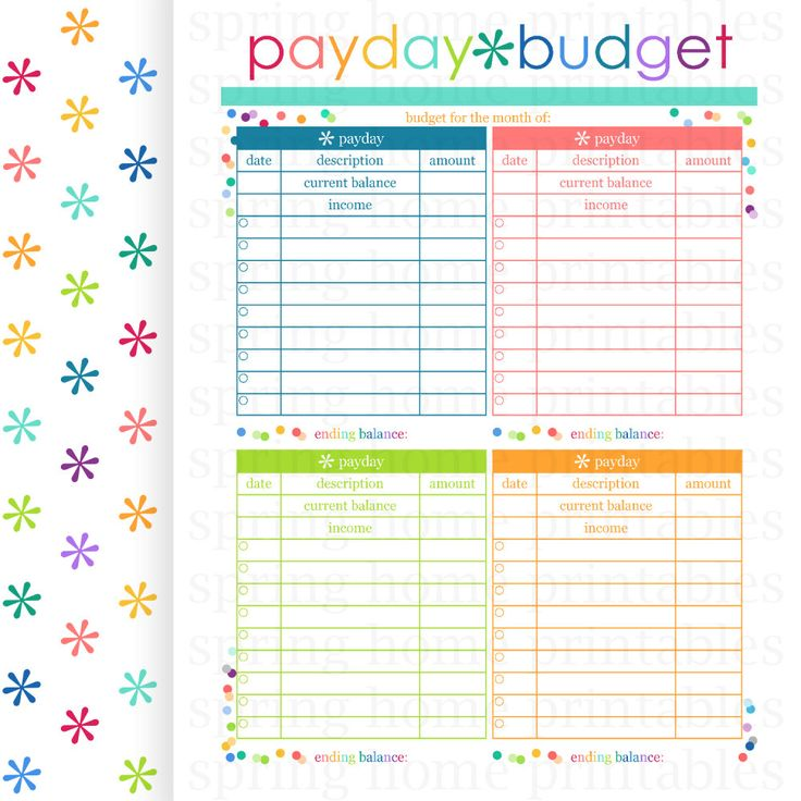 payday budget  budget planner  printable budget  bill