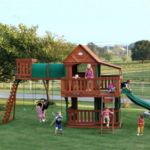 25 best ideas about swing set plans on pinterest wooden for Build a swing set playhouse